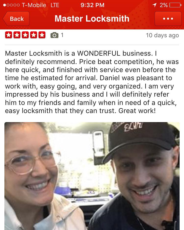 Master Locksmith Wonderful Review on Yelp