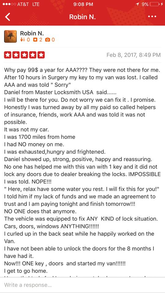 Master Locksmith Happy Review of Yelp