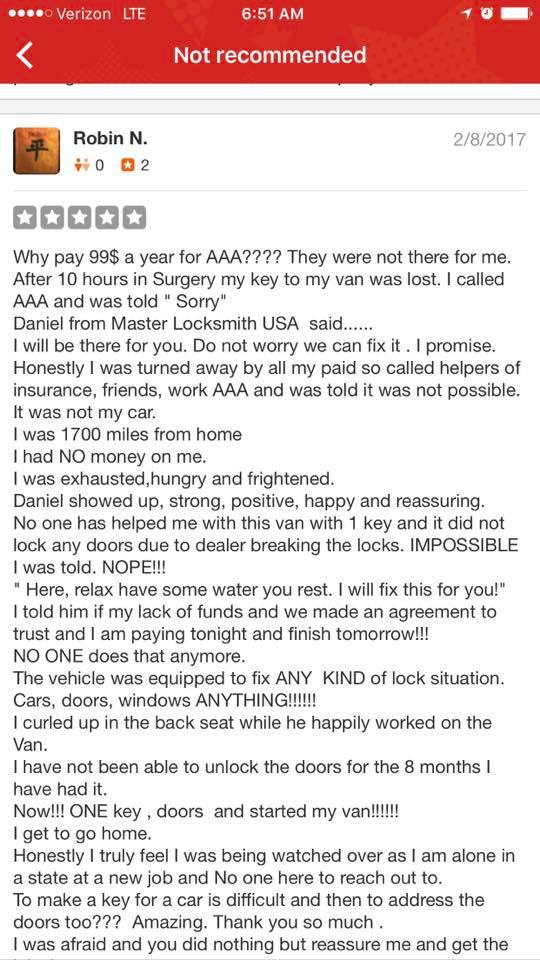 Master Locksmith Positive Review on Yelp