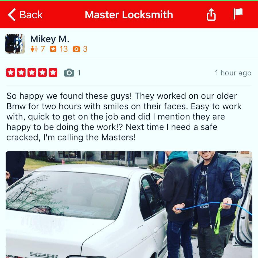 Master Locksmith Great Review on Yelp